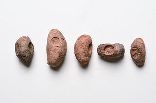 Lot of 5 Parthian clay bullae seals c.5th century AD.