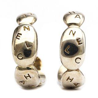 Chanel Silver 925 Hoop Earrings Silver