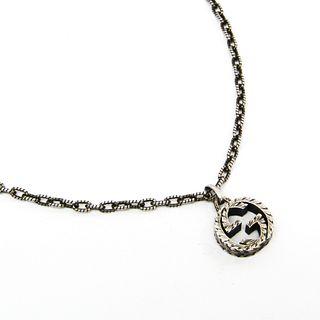 Gucci Interlocking G Silver 925 Unisex Pendant Necklace (Gunmetal)