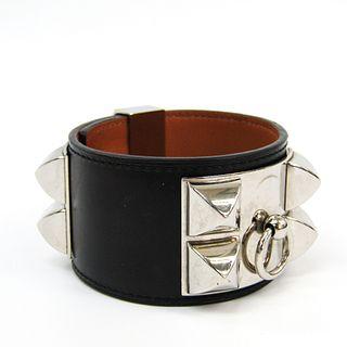 Hermes Collie Edsian Box Calf Leather,Metal Bangle Black,Brown,Silver