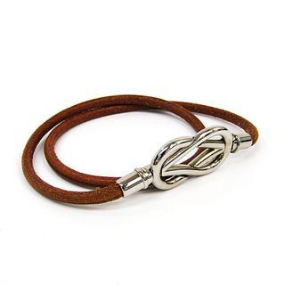 Hermes Atame Choker Leather,Metal Bangle Brown,Silver
