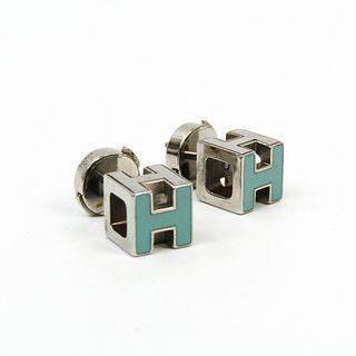 Hermes Cage D'h H Cube Earrings Metal Stud Earrings Light Blue,Silver