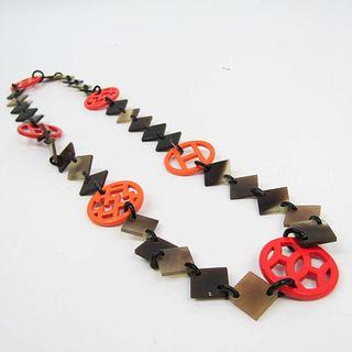 Hermes HAVA Buffalo Horn,Lacquer Women's Choker Necklace (Beige,Dark Brown,Orange)