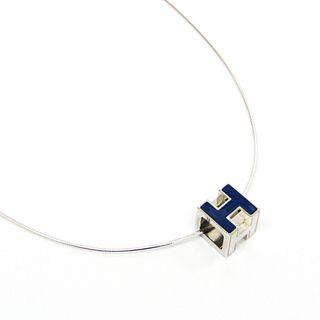 Hermes H Cube Metal Women's Pendant Necklace (Blue,Silver)