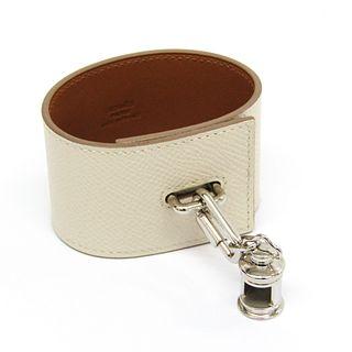 Hermes Curiosity Epsom Leather,Metal Bracelet Off-white,Silver