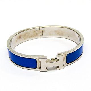 Hermes Click Crack Enamel,Metal Bangle Blue,Silver