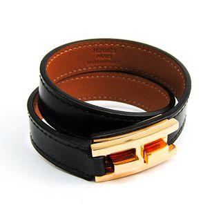 Hermes Drag De Bourtour Box Calf Leather,Metal Bracelet Black,Gold