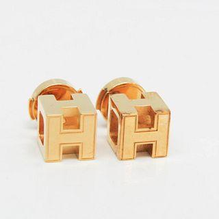 Hermes Cage D'h H Cube Metal Stud Earrings Gold