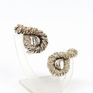 Hermes Metal Clip Earrings Silver