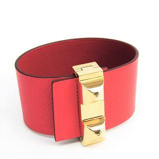 Hermes Medor Leather,Metal Bracelet Red,Coral Pink