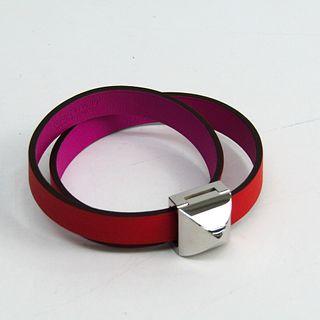 Hermes Medor Infini H072960CKBDT2 Swift Leather Bracelet Orange Red,Pink