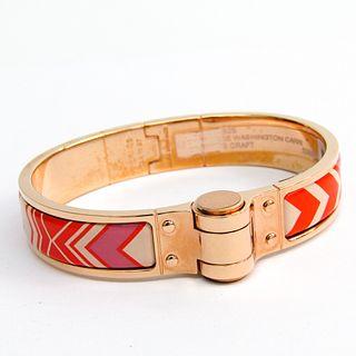 Hermes Charniere F WASHINGTON CARRI 512802F082S Cloisonne/enamel Bracelet Multi-color,Pink Gold Gold Plated