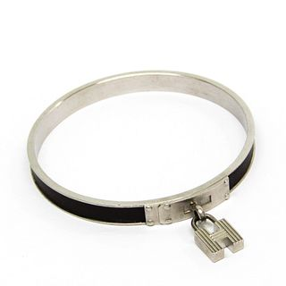 Hermes H Kelly H Cadena Leather,Metal Bangle Brown,Silver