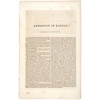 c. 1859 ADMISSION OF KANSAS over the Issue of Slavery and Constitutional Liberty