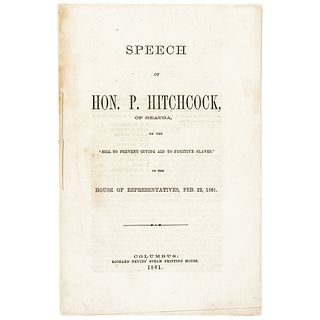 1861 Black History Imprint Speech, Bill to Prevent Giving Aid to Fugitive Slaves