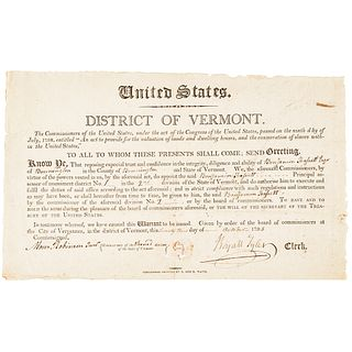 1798 United States Act of Congress, Vermont Assessor Appointment to Count Slaves
