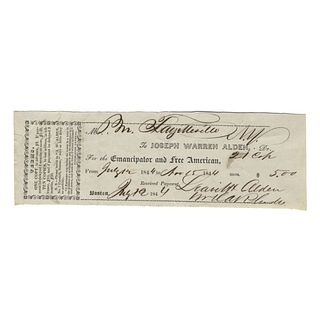 1844-Dated Partly-Printed Receipt for: The Emancipator and Free American