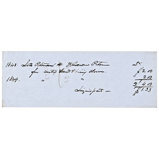 1848-49 Black History Receipt For Renting Land + Hiring Slaves
