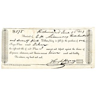 1849 Rare Partially-Printed Richmond, Virginia Bill of Sale for: One Negro Slave