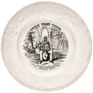 c1852 UNCLE TOMS CABIN; Eva Dressing Uncle Tom Legends Creamware Child Plate