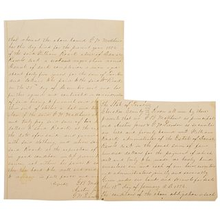 1854 Slave for Hire Manuscript Document, Cherokee County, Texas