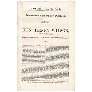1860 Anti-Slavery SPEECH OF HON. HENRY WILSON the Future US Vice-President