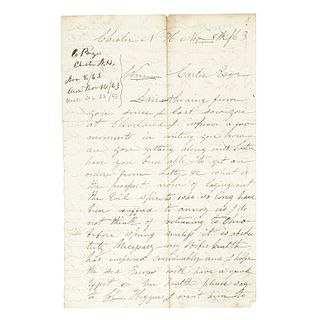 1863 Civil War Political + Black History Content Letter, Chester, New Hampshire