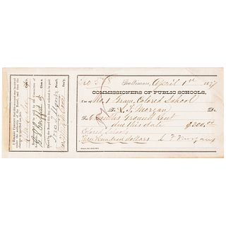 1877 Reverend L. Morgan, Colored School COMMISSIONERS OF PUBLIC SCHOOLS Reciept