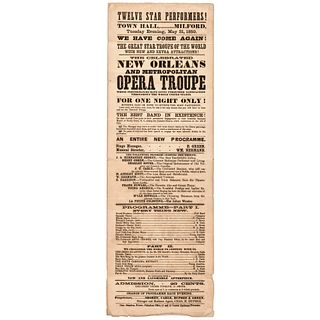 1859 Black History Related New Orleans and Metropolitan Opera Troupe Broadside