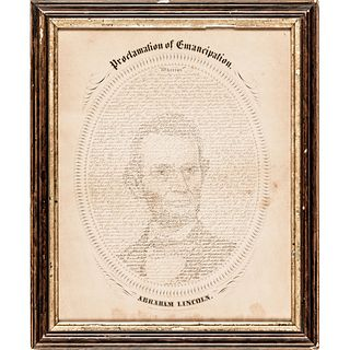 1865 Proclamation of Emancipation Calligraphic Lithograph by W.H. Pratt, Davenport, Iowa