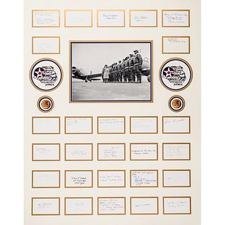 Tuskegee Airmen Signature Display of 27 Tuskegee Airmen Ink Signatures