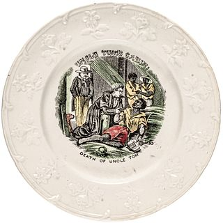 c. 1852 UNCLE TOMS CABIN; Death of Uncle Tom Hand-Painted Illustrated Plate