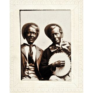 c. 1890s Albumen Photograph entitled: MINSTRELS, two White Men In Blackface