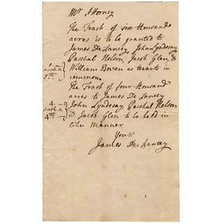 Colonial Governor of New York JAMES DELANCEY Autograph Land Document Signed