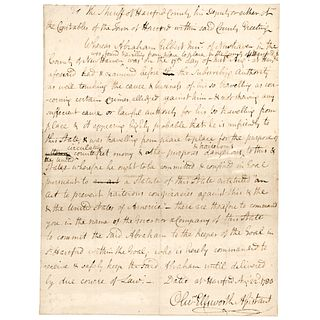 1780 Oliver Ellsworth Autograph Document Signed A CT. Counterfeiter Is Caught !