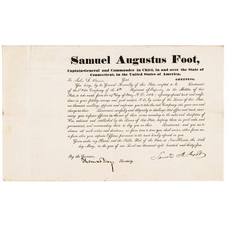 1834 Governor SAMUEL AUGUSTUS FOOT Connecticut Military Appointment