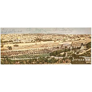 CHAIM HERZOG 6th President of Israel Signed Photograph of the Mount of Olives