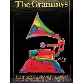 Colorful PETER MAX Inscribed and Signed 1989 Grammy Awards Poster