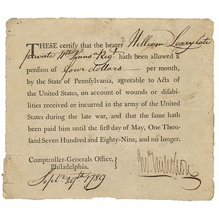 1789 JOHN NICHOLSON Signed Revolutionary War Disabilities Pension Document