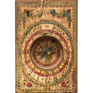 c. 1780-1800 Colorful European Maritime Pocket Compass / Sundial