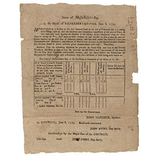 1779 Mass. Broadside, Re: Supplies Provided Continental Army Soldiers Families