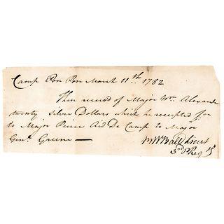 1782 Revolutionary War Document Mentions Genl. Greene, Majors Alexander + Pierce