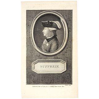 1785 Portrait Revolutionary War French Admiral Suffrein by J. Fielding, London