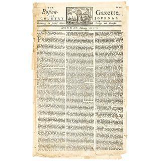 1770 Paul Revere Masthead Boston Gazette Newspaper Prior to the Boston Massacre!