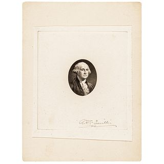 Smillie Signed Engraved George Washington Oval Portrait Die Sunk Proof Vignette