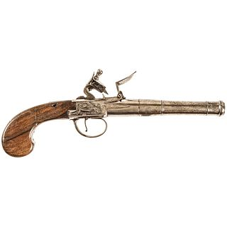 c. 1740-1760 Colonial Period English Box-lock Flint Pistol made by Pendrill