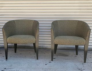 2 Club Chairs With Molded Wooden Backs by Bernhardt