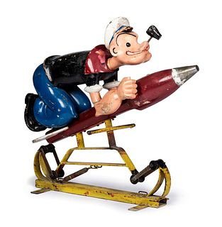 A Carved and Painted Wood Popeye Torpedo Riding Toy