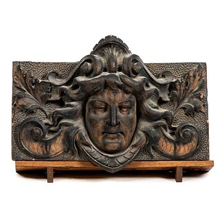 An Art Nouveau Terracotta Relief Carved Tile