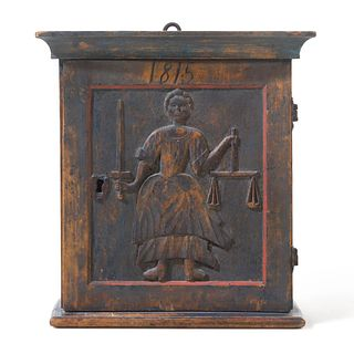 A Northern European Lady Justice Carved and Painted Birch Hanging Valuables Box, likely Scandinavian, Dated 1815
